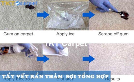 hướng dẫn tẩy vết bẩn trên thảm sợi tổng hợp