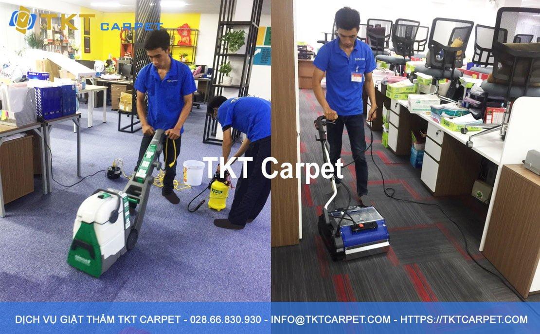 dịch vụ giặt thảm Bình Thạnh TPHCM sử dụng công nghệ hơi nước nóng TKT Carpet