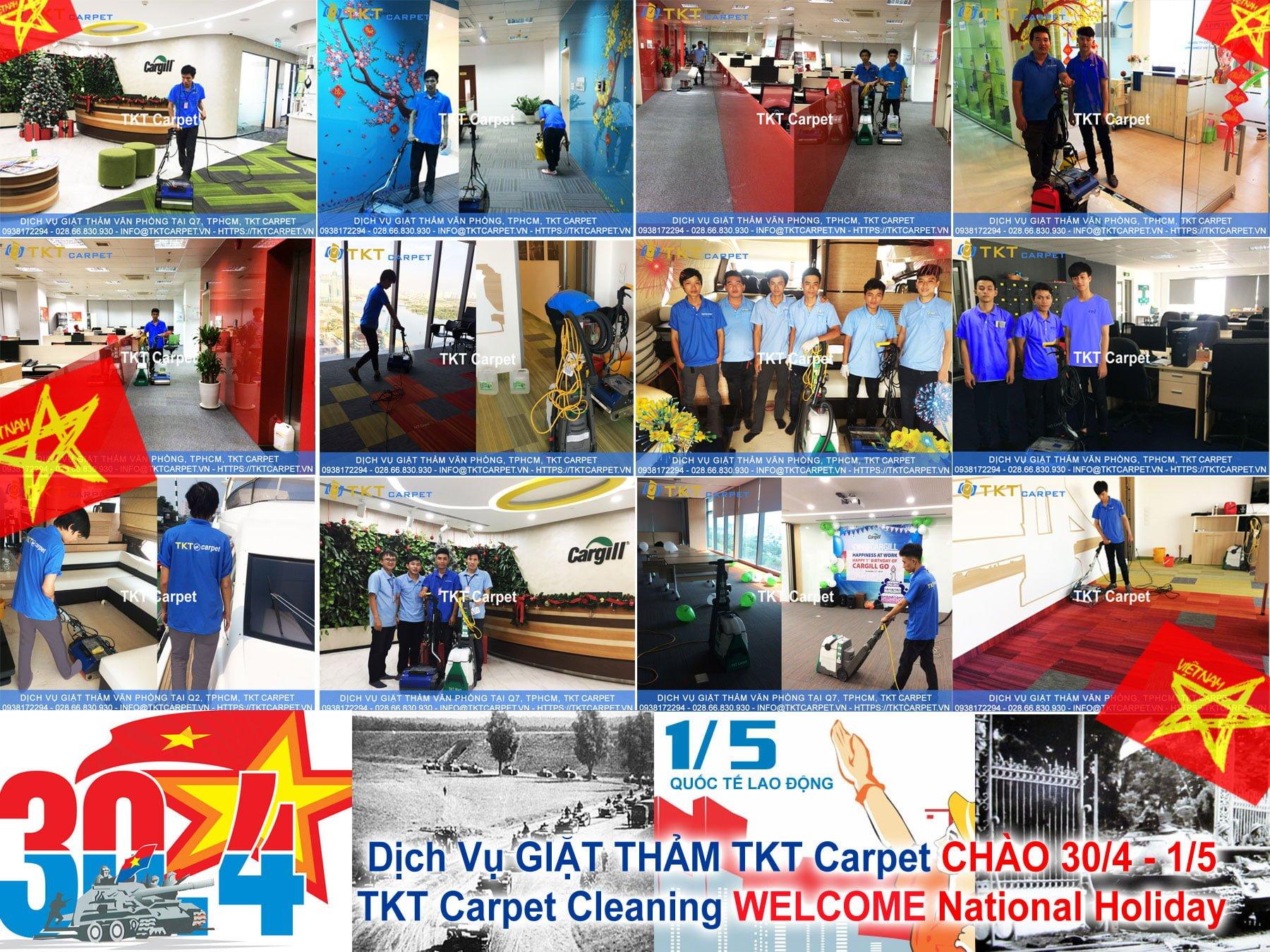dịch vụ giặt thảm TKT Carpet khuyến mãi 30/4 và 1/5 tri ân khách hàng