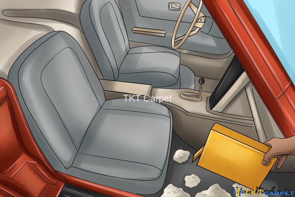 khử mùi trên thảm trải sàn ô tô với baking soda