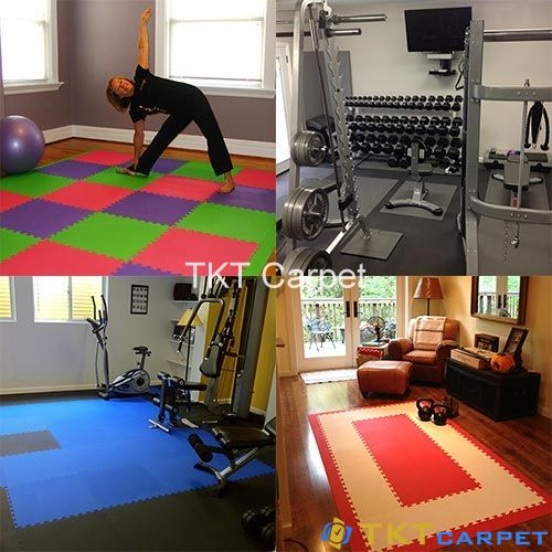 thảm xốp ghép tấm sử dụng trong phòng tập gym, thể thao