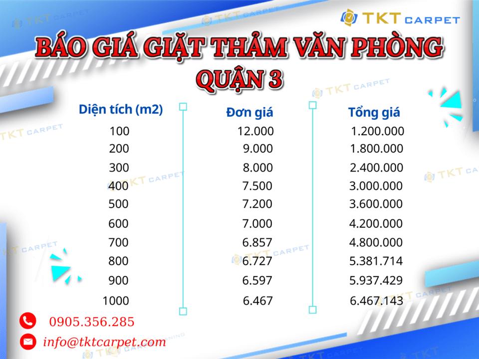 Bảng giá dịch vụ giặt thảm tại quận 3